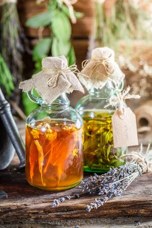 tincture: Therapeutic tincture with herbs and alcohol