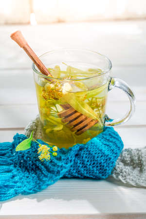 evenings: Healthy linden tea for cold evenings Stock Photo