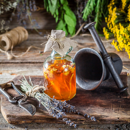 witchdoctor: Therapeutic herbs in bottles with alcohol and herbs