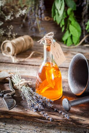 witchdoctor: Aromatic herbs in bottles as an alternative cure