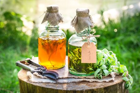 tincture: Homemade tincture with alcohol and herbs