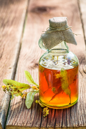 tincture: Healthy tincture in bottles as homemade cure Stock Photo