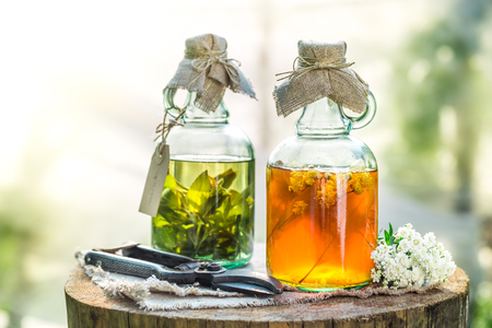 tincture: Homemade tincture as homemade cure Stock Photo