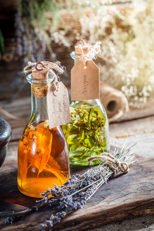 witchdoctor: Homemade herbs in bottles as homemade cure