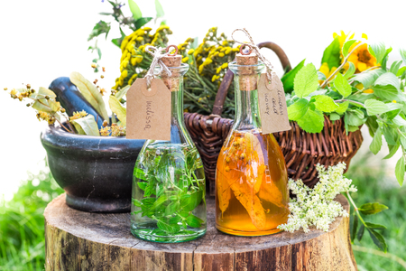 tincture: Healthy tincture with herbs and alcohol