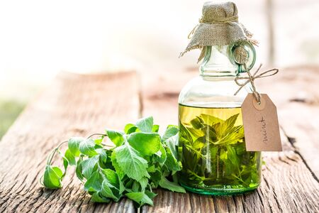 witchdoctor: Healthy tincture in bottles as natural medicine