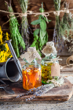 tincture: Homemade tincture in bottles as homemade cure