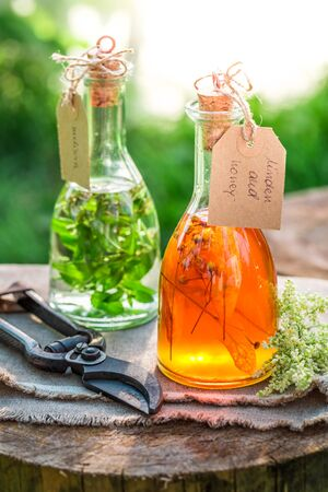 witchdoctor: Homemade tincture with herbs and alcohol Stock Photo