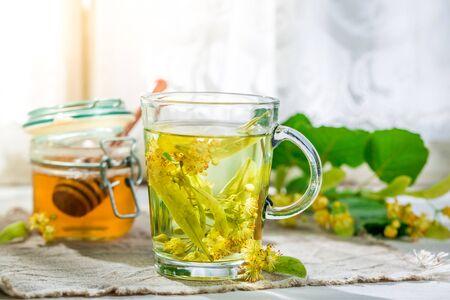 linden tea: Healthy linden tea with honey