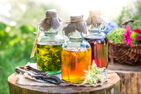 witchdoctor: Healing tincture in bottles as natural medicine