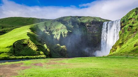 skogafoss waterfall: Spectacular Skogafoss waterfall in Iceland