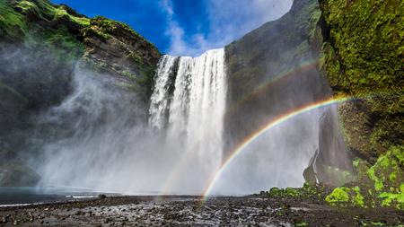 skogafoss waterfall: Beautiful Skogafoss waterfall in Iceland