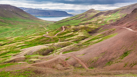 curving: Curving mountain road in Iceland