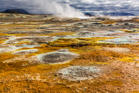 sulfur: Full of sulfur and steam Namafjal llandscape in Iceland