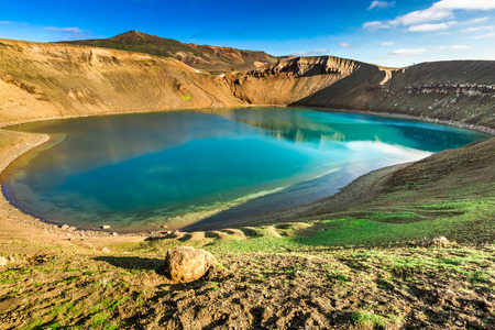 crater lake: Unique lake in the crater of a volcano in Iceland Stock Photo