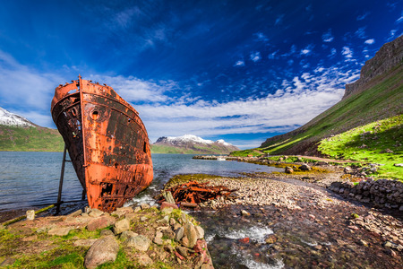 shipwreck: Shipwreck on the Arctic sea in Iceland