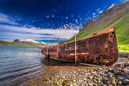 ship wreck: Old ship wreck on the beach in Iceland Stock Photo