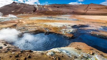 fumarole: Colorful Namafjal llandscape in Iceland