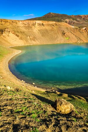 crater lake: Turquoise lake in the crater of a volcano in Iceland