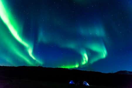 aurora: Camping under aurora in Iceland