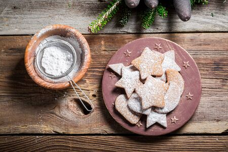 Sweet and tasty gingerbread cookies for Christmas Stock Photo