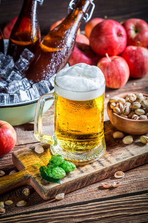 drink bottle: Cold and fresh apple beer Stock Photo