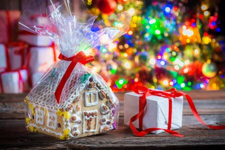 traditional christmas: Sweet and tasty gingerbread cottage