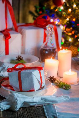 holiday gathering: Beautiful Christmas table setting for Christmas eve