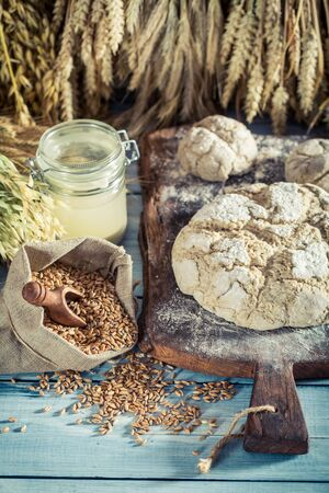Tasty loaf of bread with whole grains