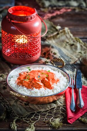 masala: Tasty tikka masala with rice and tomato sauce Stock Photo