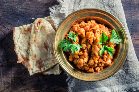 Indian Channa Masala with chickpeas Stockfoto