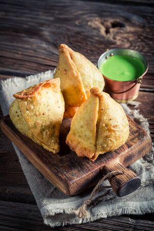 samosa: Indian samosa with vegetables and meat Stock Photo