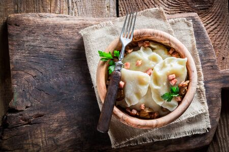 yummy: Yummy dumplings with wild mushrroms Stock Photo