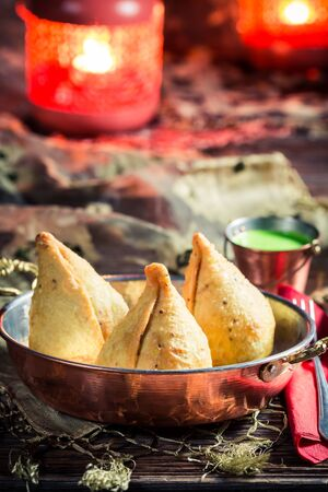 samosa: Delicious samosa with meat