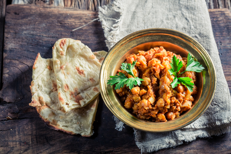indian bean: Spicy Channa Masala with chickpeas