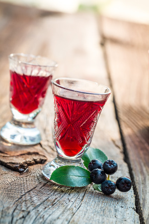 liqueur: Fresh liqueur with chokeberries and alcohol Stock Photo