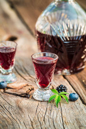 liqueur: Healthy liqueur with berry fruits and alcohol