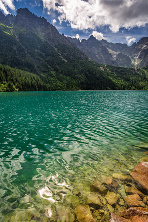 morskie: Lake in the mountains at sunrise Stock Photo