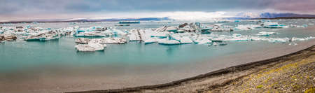 icebergs: Panorama of lake full of icebergs in Iceland
