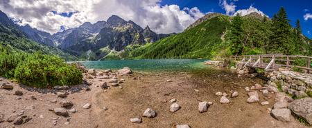 morskie: Panorama of beautiful lake in the Tatra Mountains Stock Photo