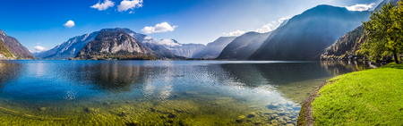 Panorama of crystal clear mountain lake in Alps