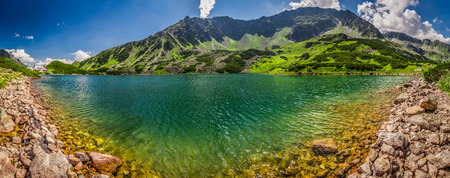 tatra: Panorama of crystal clear pond in the Tatra Mountains