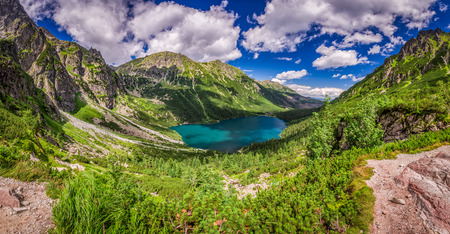 morskie: Panorama of beautiful lake in the middle of the Tatra mountains