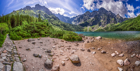 morskie: Panorama of beautiful lake in the mountains at summer Stock Photo