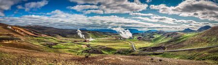 Panorama of geothermal power station in Iceland Stock Photo