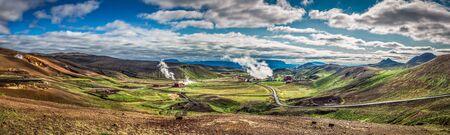 Panorama van geothermische centrale in IJsland