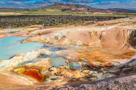 fumarole: Colorful ground full of minerals on volcanic mountain, Iceland