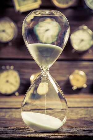 Vintage hourglass as the old way of timing Stock Photo