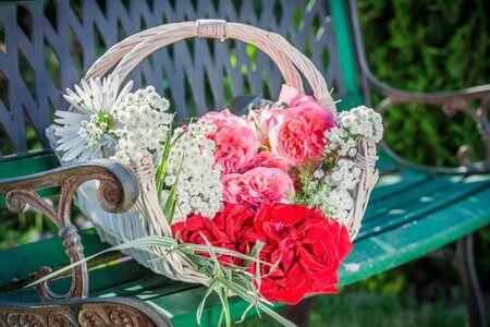 pruning scissors: Wonderful flowers in basket