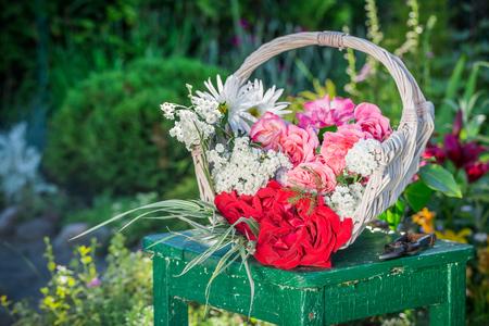 pruning scissors: Beautiful colorful flowers in summer garden